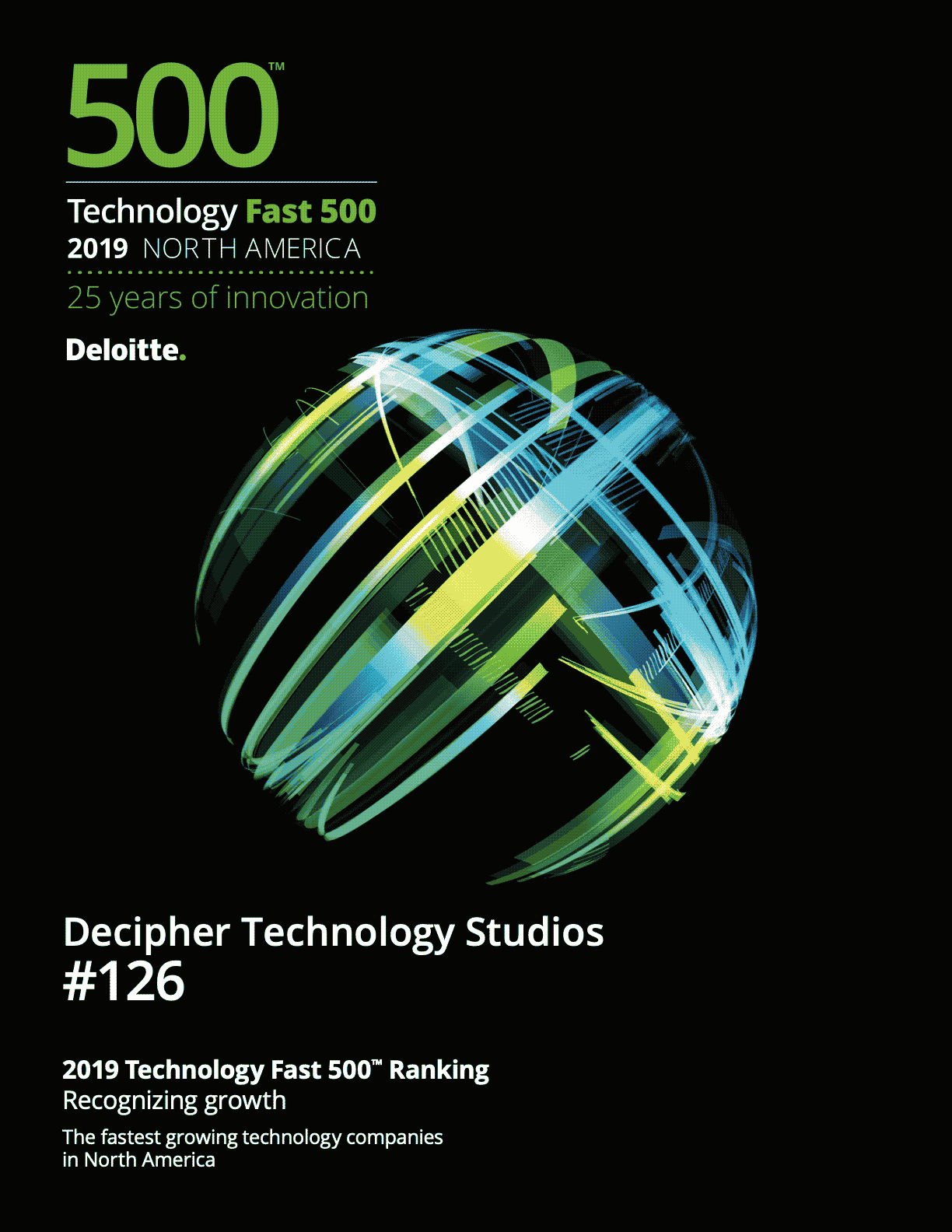 Document describing Decipher's being awarded #126 in Deloitte's 2019 Technology Fast 500 Ranking