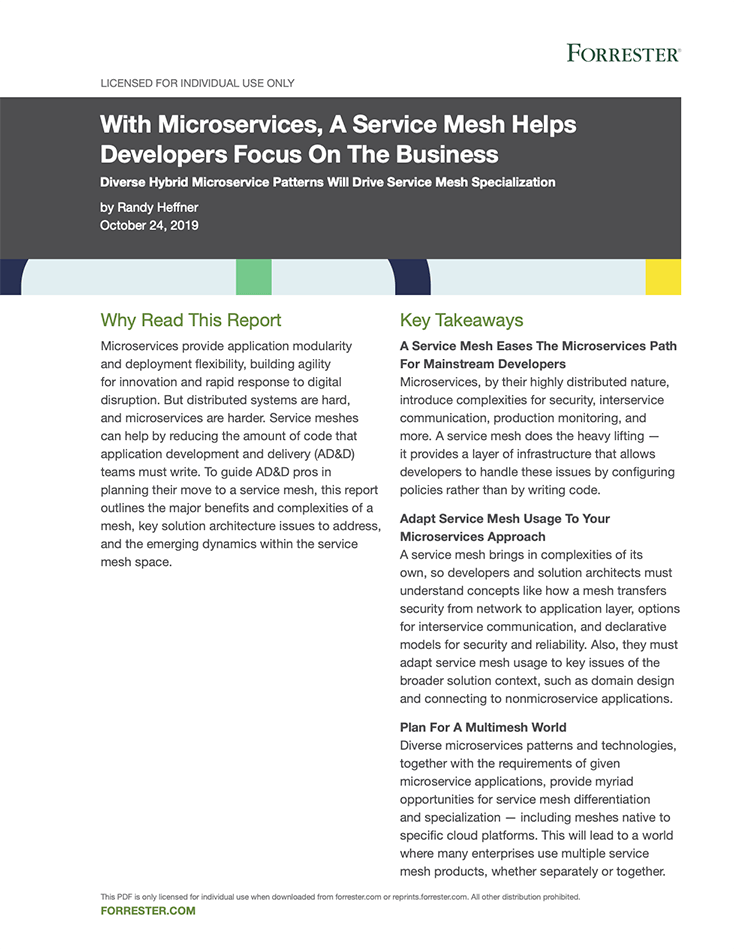 Link to a Forrester report on the value of Service Meshes.